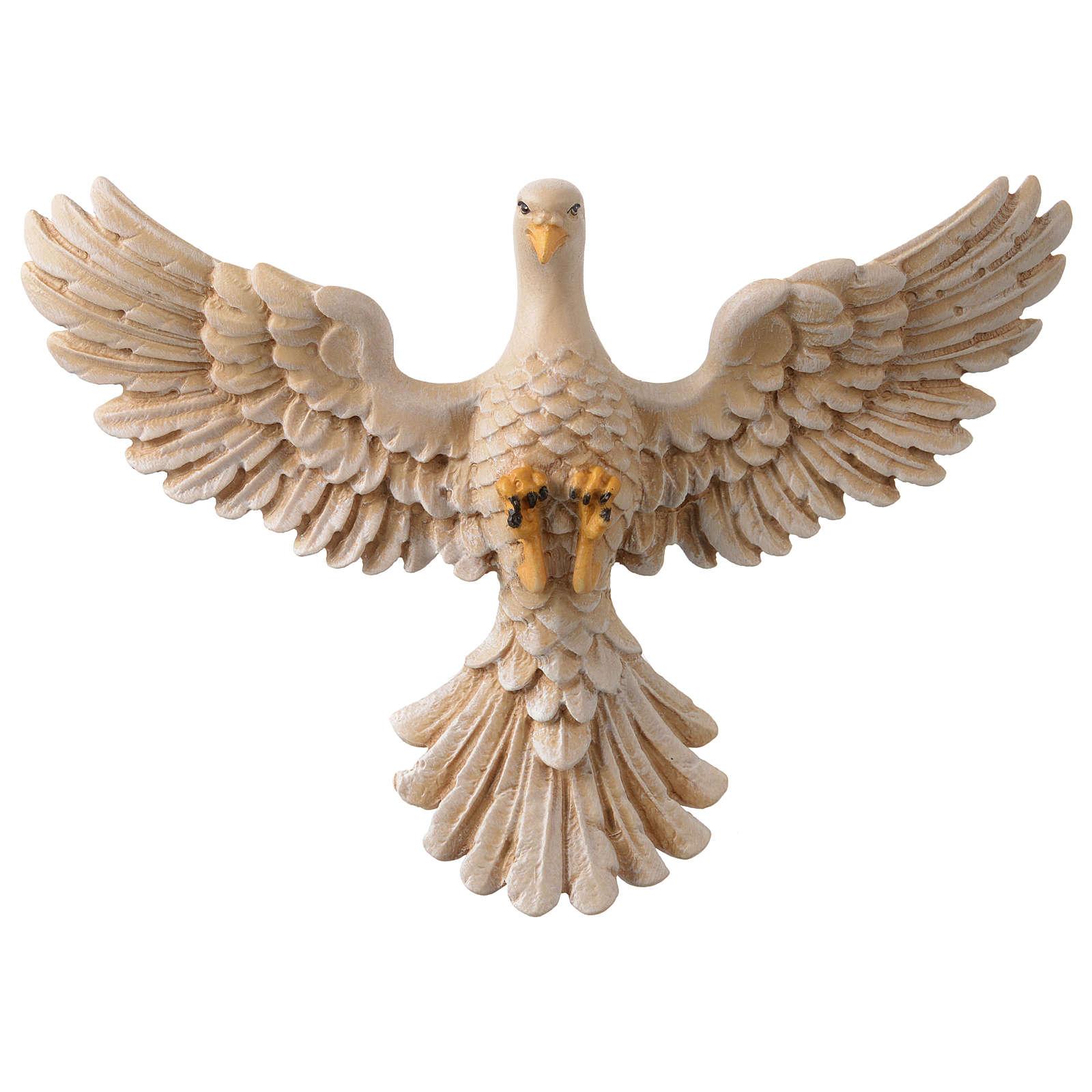 Dove in painted wood Valgardena 12 cm 3