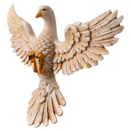 Dove in painted wood Valgardena 12 cm 2