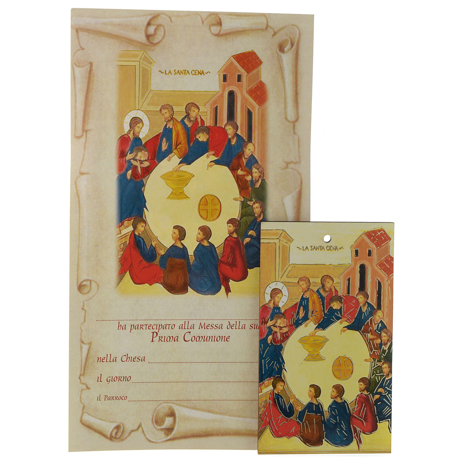 First communion certificate with small wooden icon 3