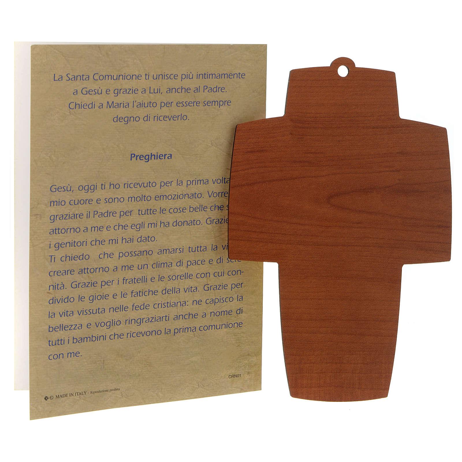 Croce legno con diploma per Prima Comunione 3