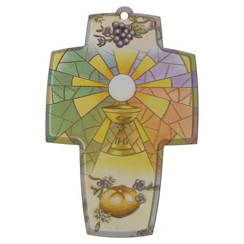 Croce legno con diploma per Prima Comunione 1