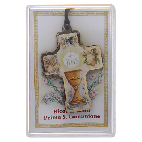First communion wooden cross with cord and box 1