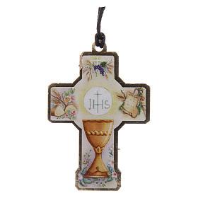 Croix en bois Première Communion cordon et boîte s2