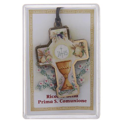 Croix en bois Première Communion cordon et boîte 1