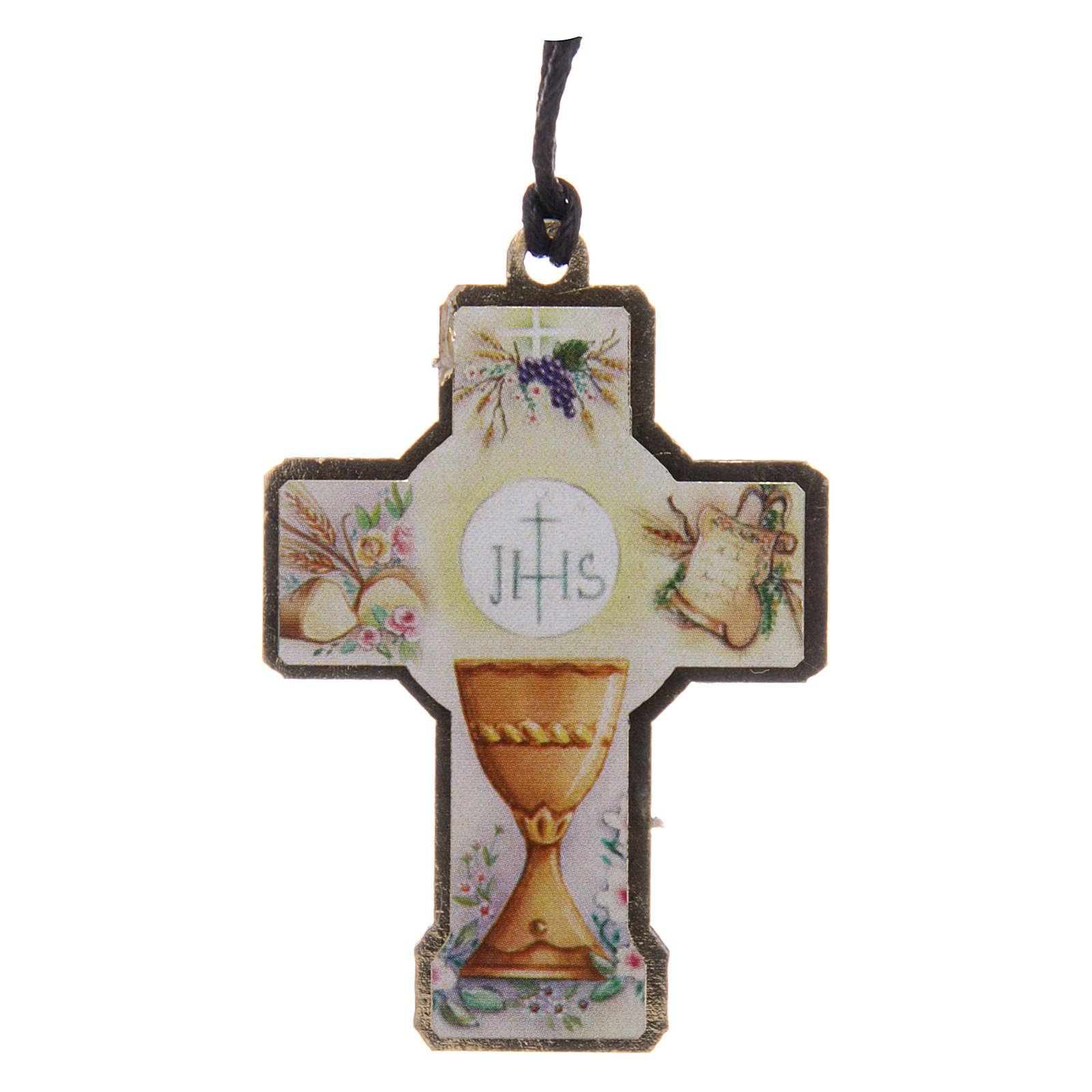 Croce in legno Prima Comunione cordino e scatola 3