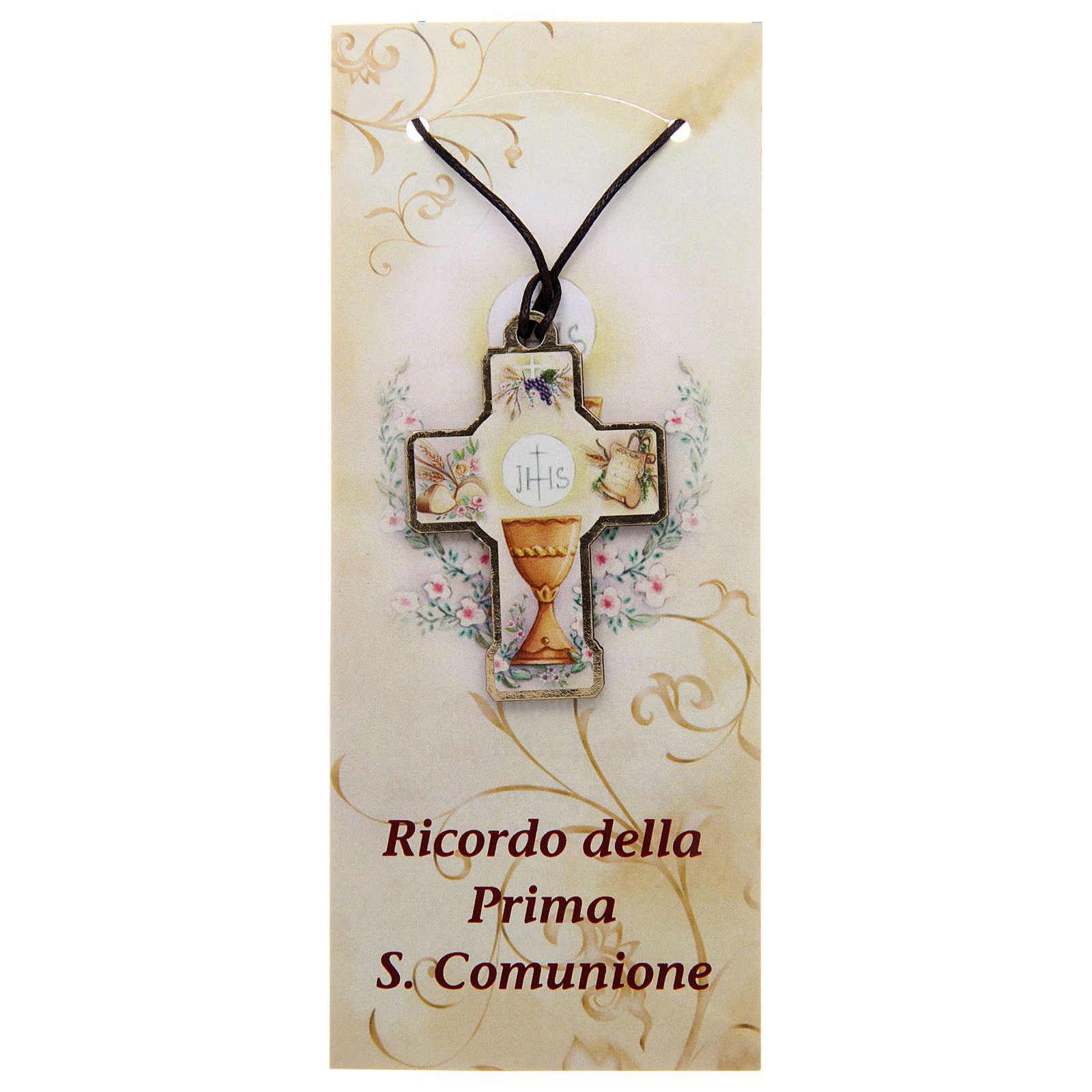 Croix en bois Communion cordon et carton 3