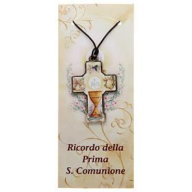 Croix en bois Communion cordon et carton s1