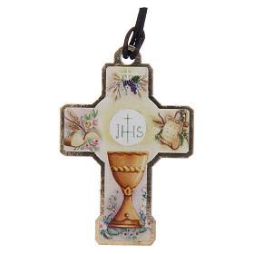 Croix en bois Communion cordon et carton s3