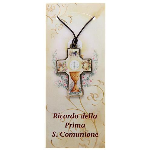 Croix en bois Communion cordon et carton 1