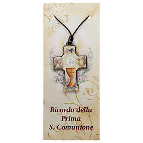 Wooden cross for the first communion with cord and card s1