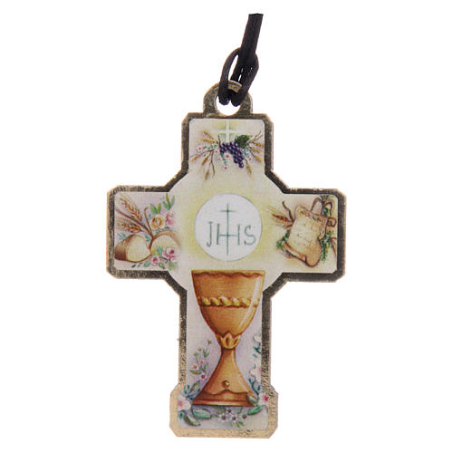 Wooden cross for the first communion with cord and card 3