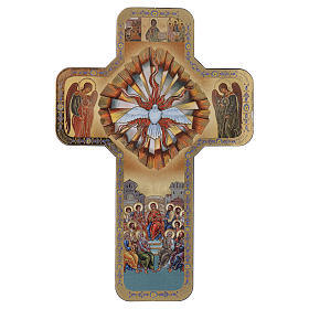Holy Spirit wooden cross with print 10x15 cm s1