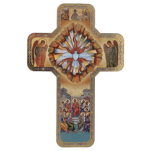 Holy Spirit wooden cross with print 10x15 cm 1