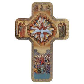 Croce Spirito Santo stampa legno 10x15 cm s1