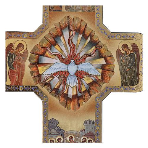 Croce Spirito Santo stampa legno 10x15 cm 2