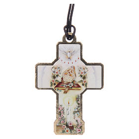 Wooden cross with cord 3x5 cm s2
