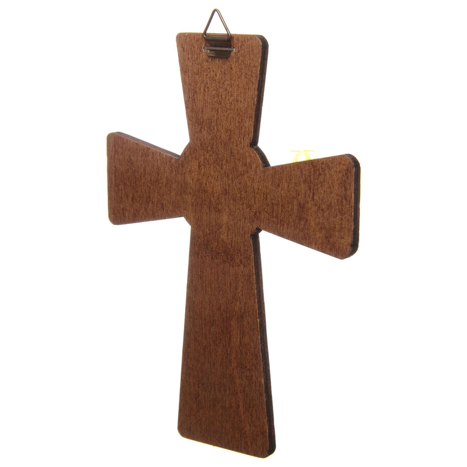 Cruz Crisma impressão sobre madeira 15x10 cm 3