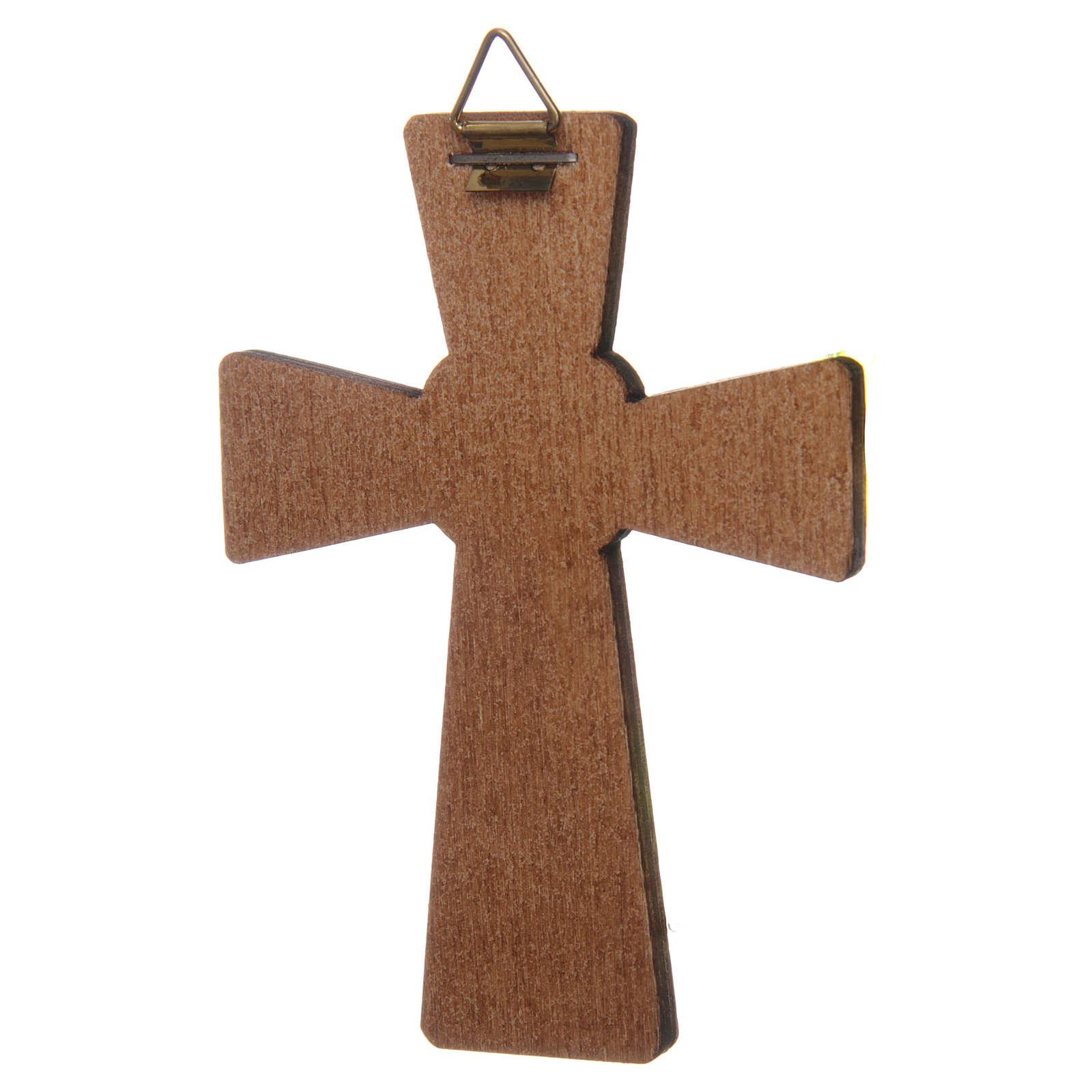 Croix Colombe Saint Esprit impression sur bois 10x7 cm 3