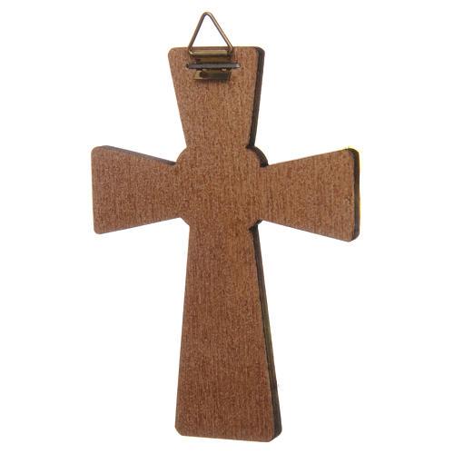 Croix Colombe Saint Esprit impression sur bois 10x7 cm 2