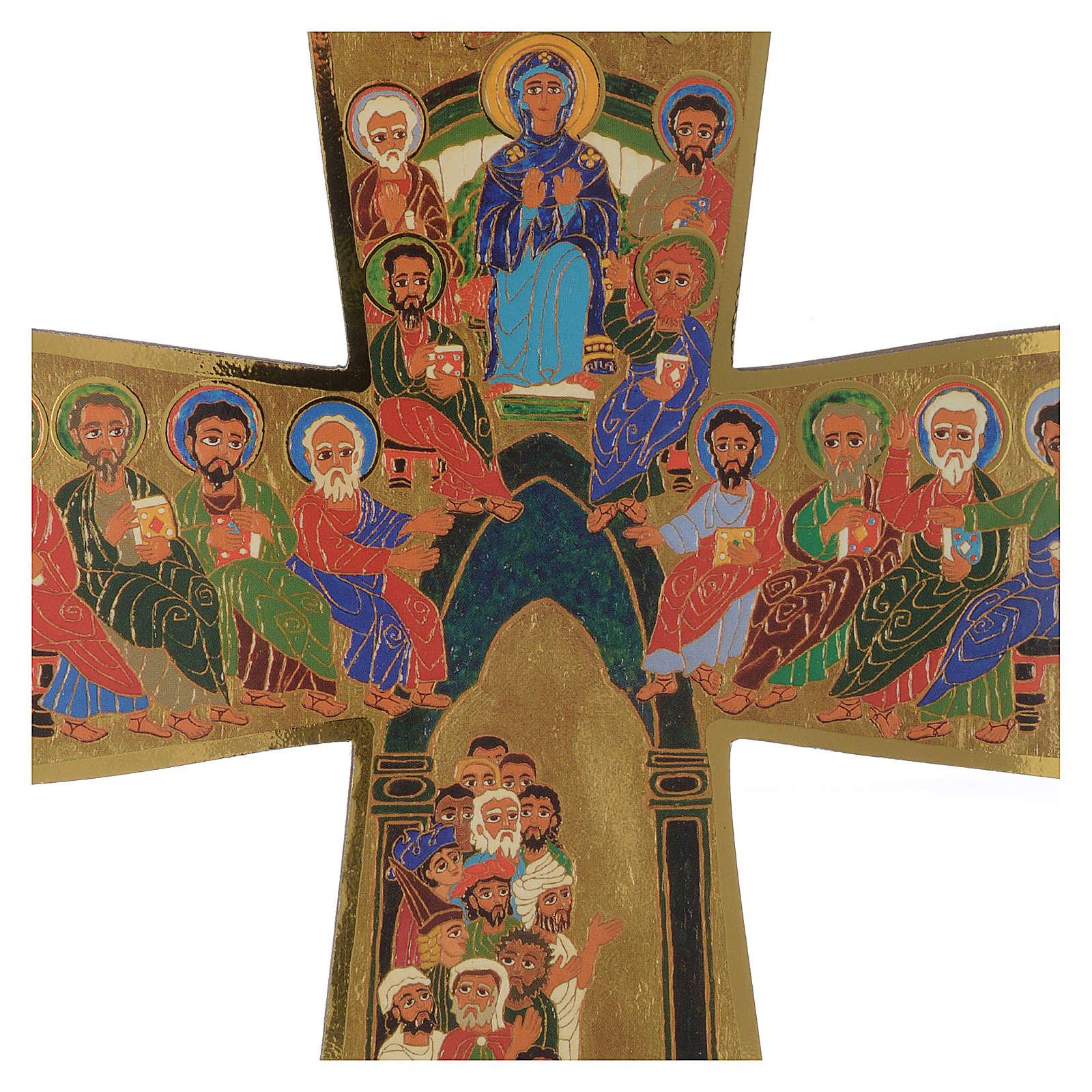 Croce in legno stampa Pentecoste 15x25 cm 3