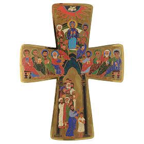 Croce in legno stampa Pentecoste 15x25 cm s1