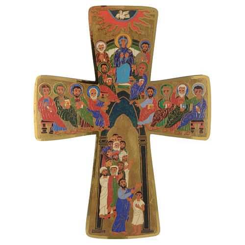Croce in legno stampa Pentecoste 15x25 cm 1