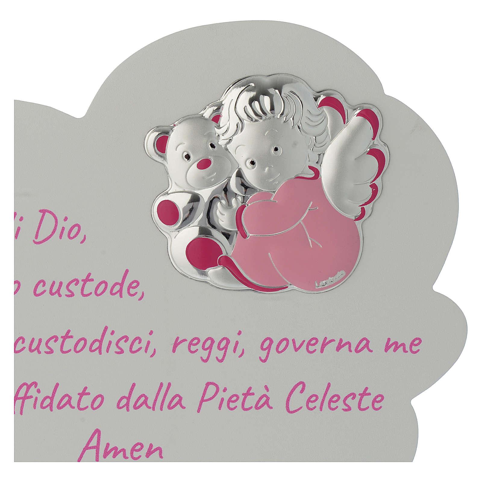 Tavola Nuvola rosa con preghiera e angelo 3