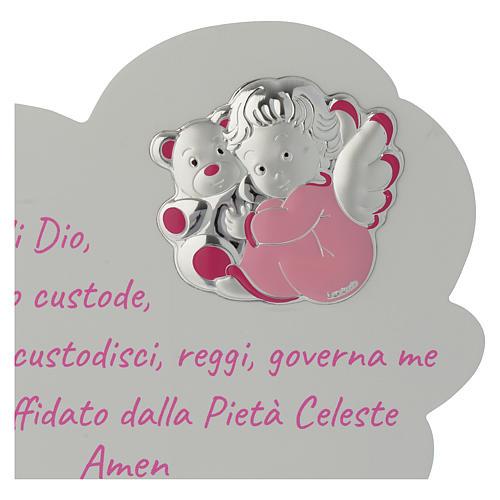 Tavola Nuvola rosa con preghiera e angelo 2