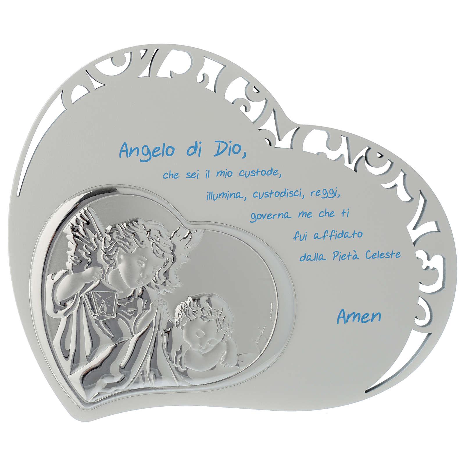Tabla corazón con oración y ángel - azul 3