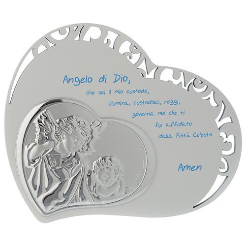 Tabla corazón con oración y ángel - azul 1
