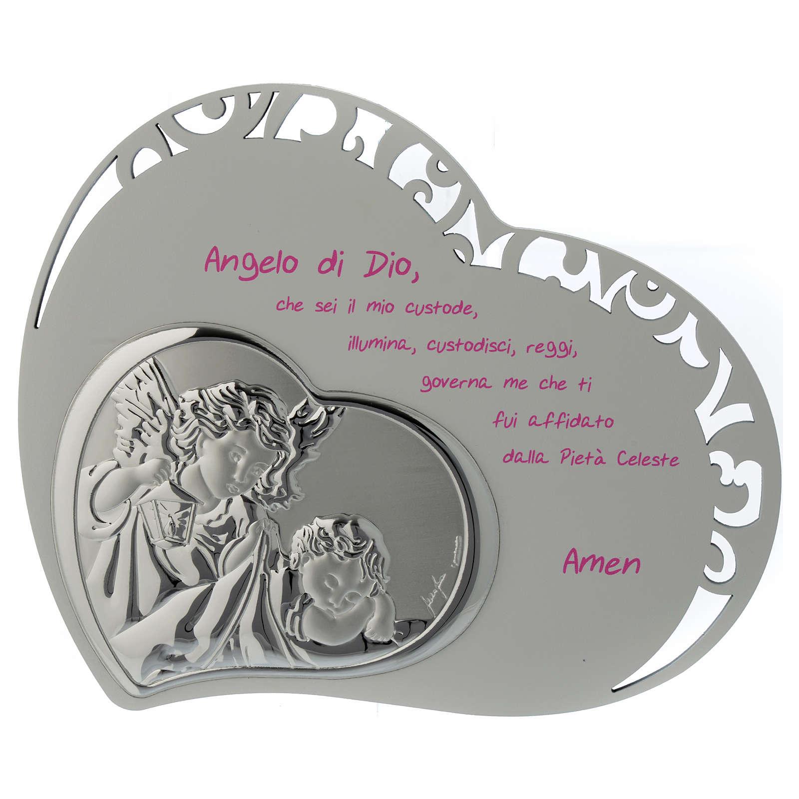 Tabla corazón tallada con oración y ángel - rosa 3