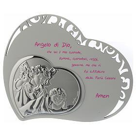 Tabla corazón tallada con oración y ángel - rosa s1