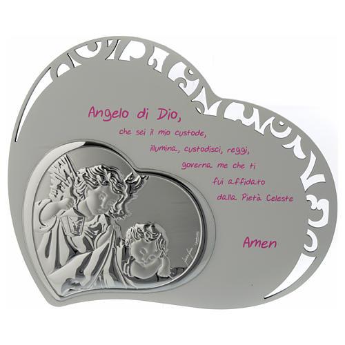 Tabla corazón tallada con oración y ángel - rosa 1