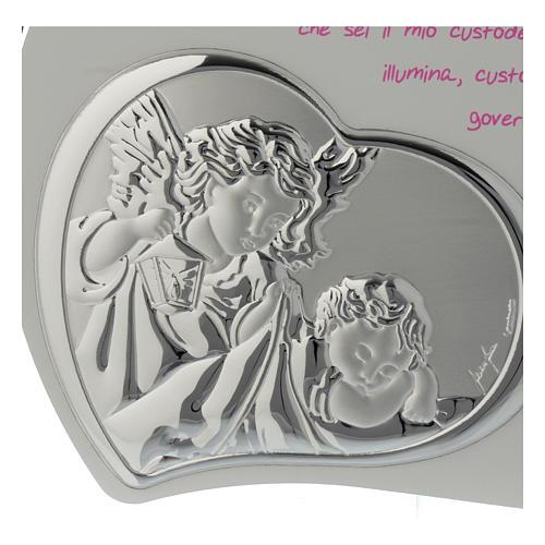 Tavola cuore intagliata con preghiera e angelo - rosa 2