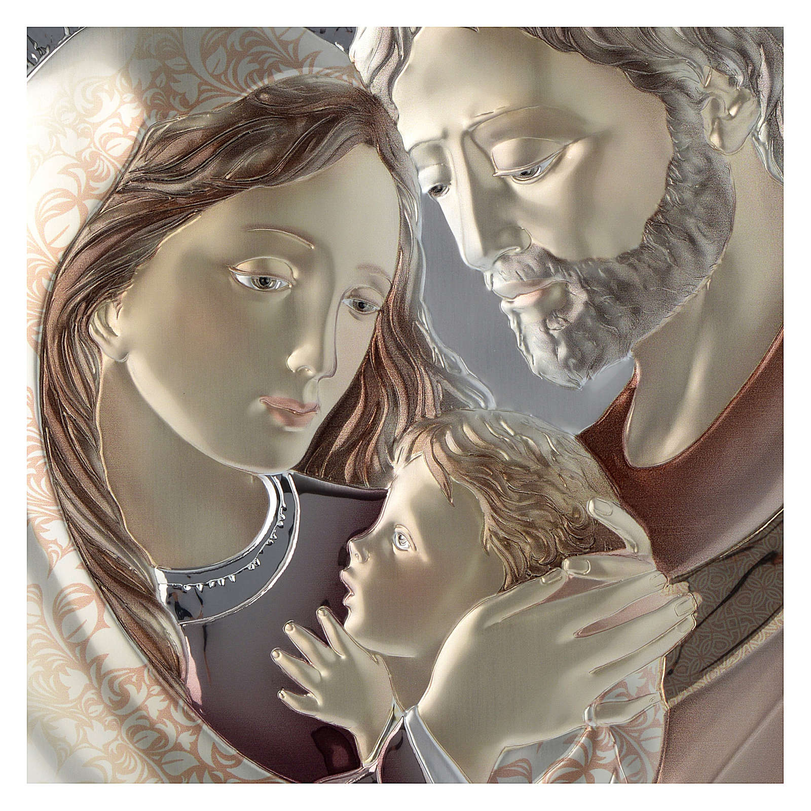 Holy Family painting in dove-grey and white made of silver and wood 3