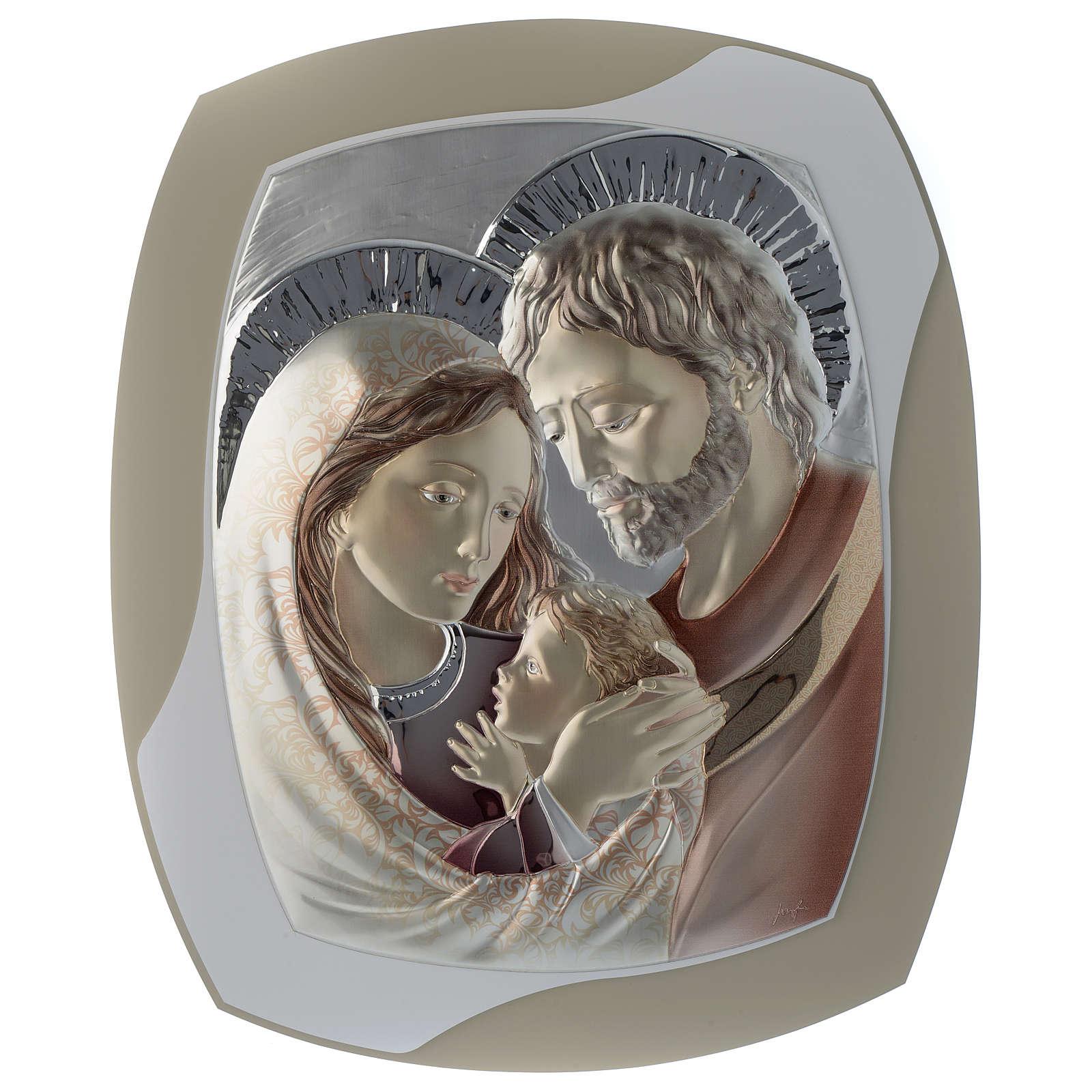 Cuadro Sagrada Familia tórtola y blanco plata y madera 3