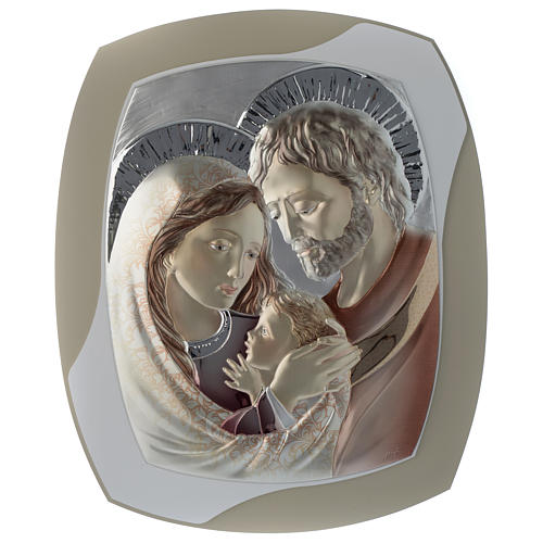 Cuadro Sagrada Familia tórtola y blanco plata y madera 1