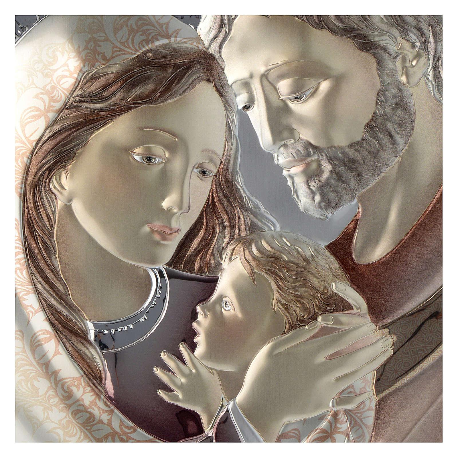 Quadro Sacra Famiglia tortora e bianco argento e legno 3