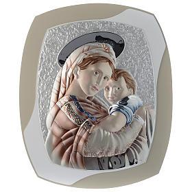 Cadre Vierge et Enfant gris tourterelle et blanc argent et bois s1