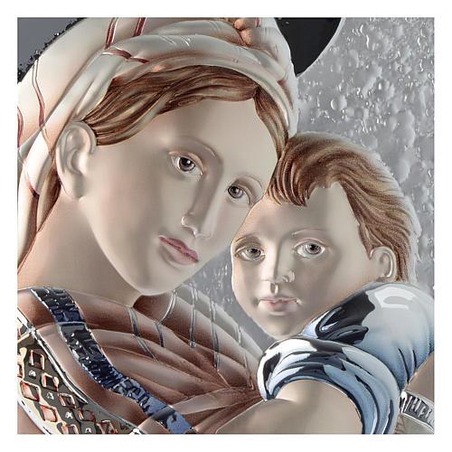 Cadre Vierge et Enfant gris tourterelle et blanc argent et bois 2