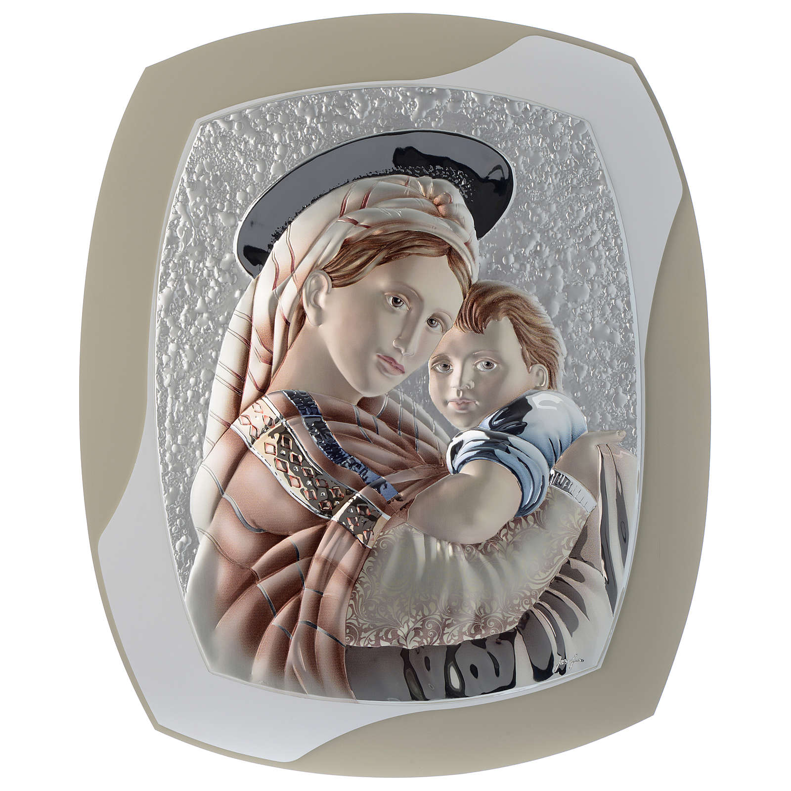 Our Lady with Baby Jesus silver plaque on wood, dove-grey and white color 3