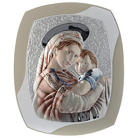 Our Lady with Baby Jesus silver plaque on wood, dove-grey and white color s1