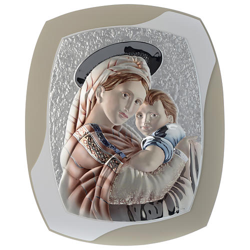Our Lady with Baby Jesus silver plaque on wood, dove-grey and white color 1