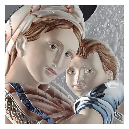 Our Lady with Baby Jesus silver plaque on wood, dove-grey and white color 2