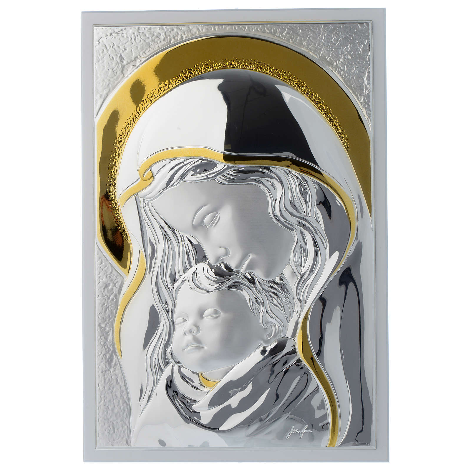 Our Lady with Baby Jesus painting in silver and white wood 25x35 cm 3