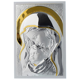 Our Lady with Baby Jesus painting in silver and white wood 25x35 cm s1