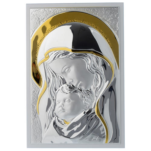 Our Lady with Baby Jesus painting in silver and white wood 25x35 cm 1