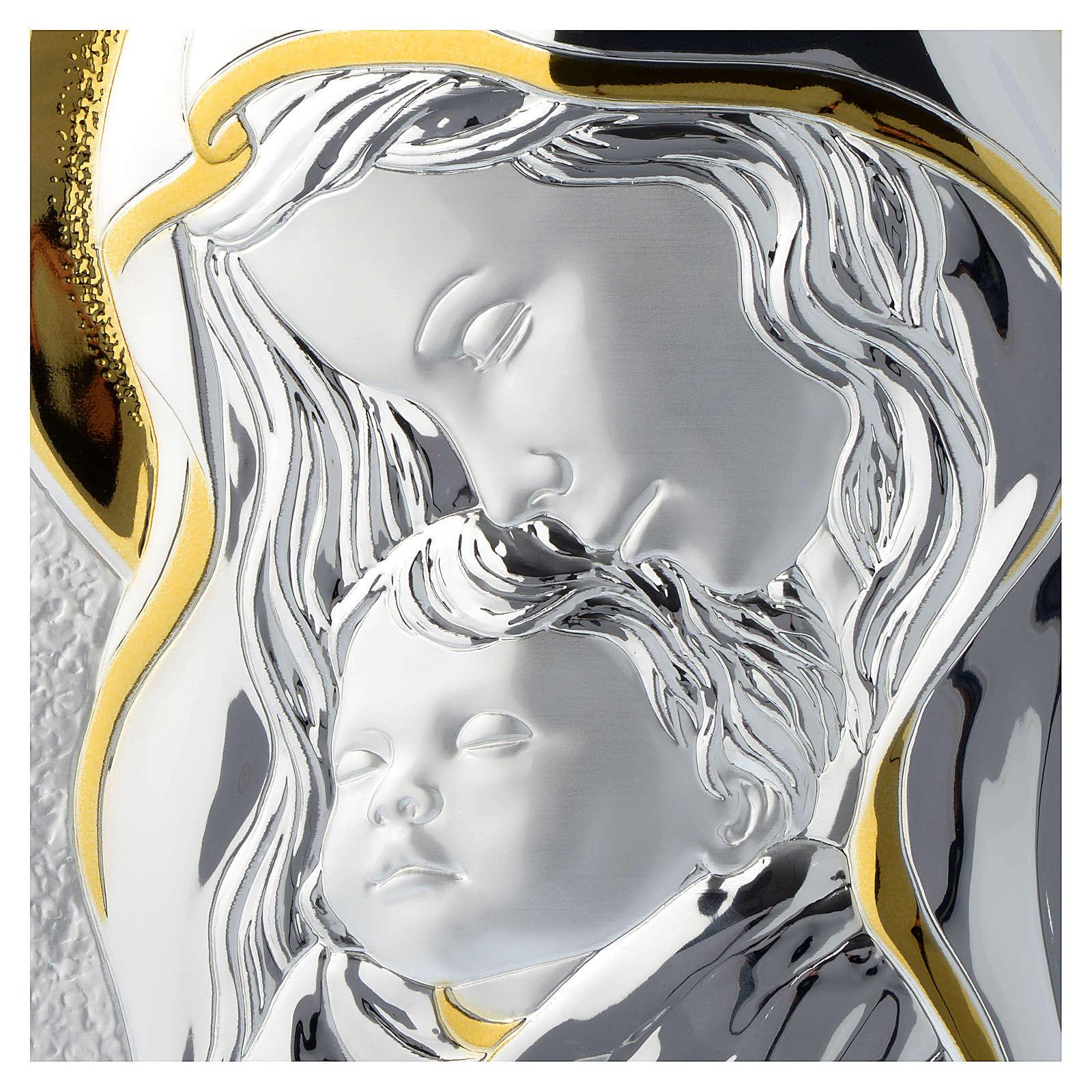 Tavola Madonna con Bambino Argento e legno bianco 25x35 cm 3