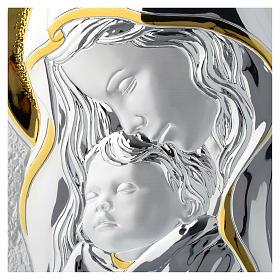 Tavola Madonna con Bambino Argento e legno bianco 25x35 cm s2