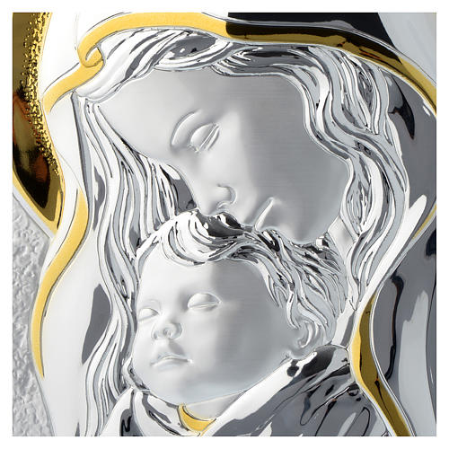 Our Lady with Baby Jesus silver plaque on wood, 10x14 inc 2
